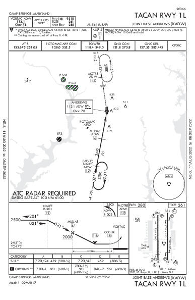 Joint Base Andrews Camp Springs, MD (KADW): TACAN RWY 01L (IAP)