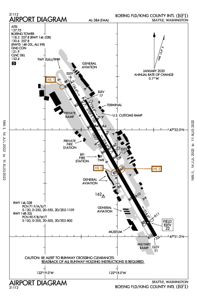 Boeing-Comté de King Airport (Seattle, WA): KBFI Airport Diagram