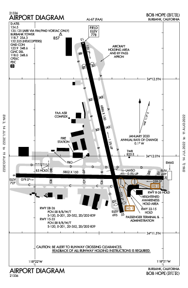 Bob Hope Airport (Burbank, CA): KBUR Airport Diagram