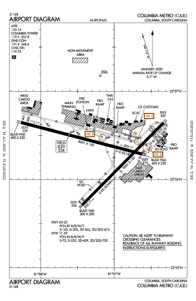 Columbia Metropolitan Airport (Colúmbia, Carolina do Sul): KCAE Airport Diagram