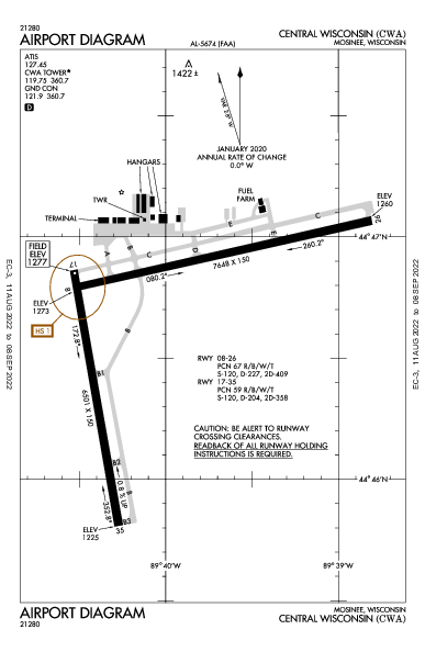 Central Wisconsin Airport (Mosinee, WI): KCWA Airport Diagram