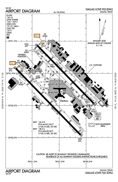 Dallas Love Field Airport (Dallas, TX): KDAL Airport Diagram