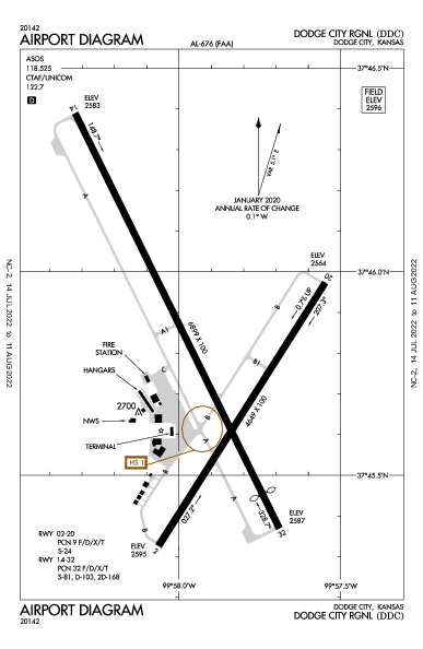 Dodge City Rgnl Airport (Dodge City, KS): KDDC Airport Diagram