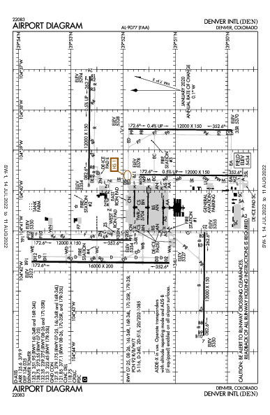 Denver Intl Airport (丹佛): KDEN Airport Diagram