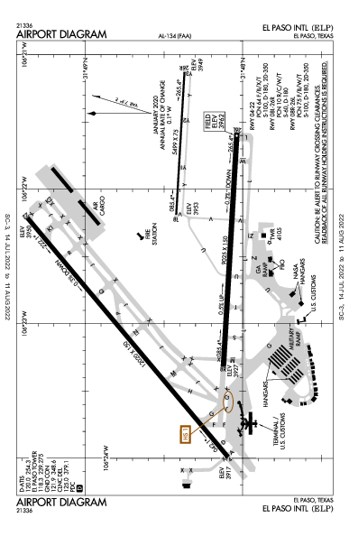 エルパソ国際空港 Airport (El Paso, TX): KELP Airport Diagram