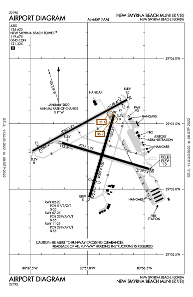 New Smyrna Beach Muni Airport (New Smyrna Beach, FL): KEVB Airport Diagram
