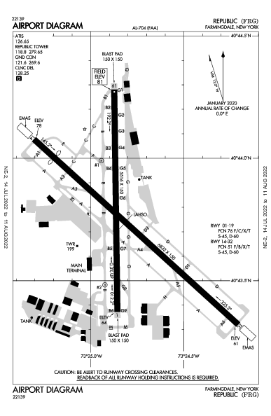 Republic Airport (Farmingdale, NY): KFRG Airport Diagram
