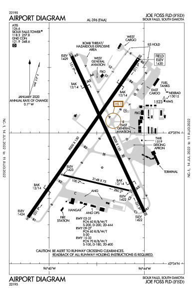 Joe Foss Field Airport (수폴스): KFSD Airport Diagram