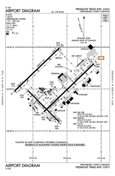 Int'l Piedmont Triad Airport (Greensboro, NC): KGSO Airport Diagram