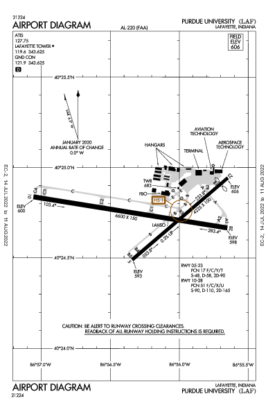 Purdue University Airport (Lafayette, IN): KLAF Airport Diagram