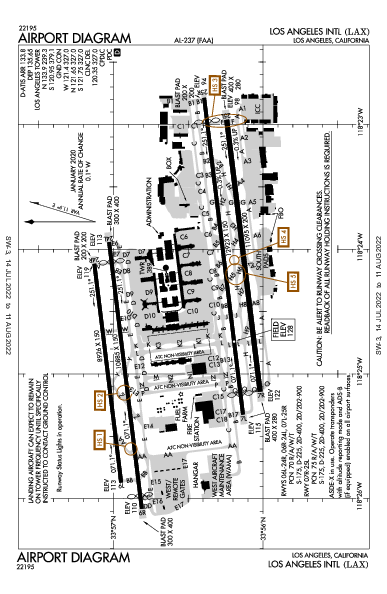 Int'l de Los Angeles Airport (Los Angeles, CA): KLAX Airport Diagram