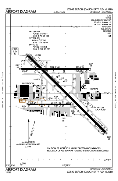 Daugherty Field Airport (長灘, 加利福尼亞州): KLGB Airport Diagram