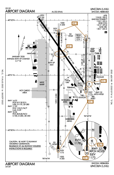 Lincoln Airport (Lincoln, NE): KLNK Airport Diagram