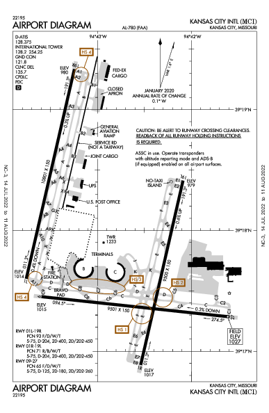 Kansas City Intl Airport (Kansas City, MO): KMCI Airport Diagram