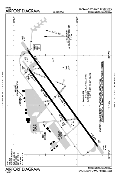 Sacramento Mather Airport (새크라멘토): KMHR Airport Diagram