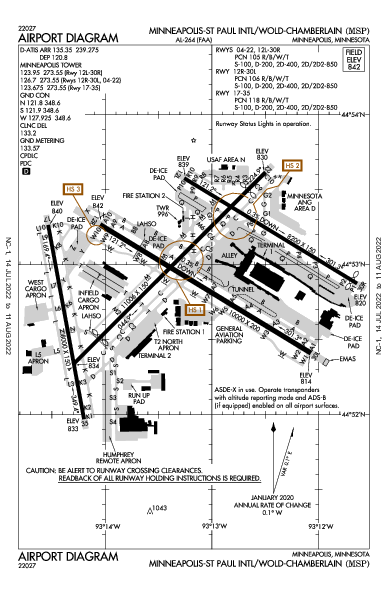 Minneapolis/St Paul Intl Airport (Minneapolis, MN): KMSP Airport Diagram