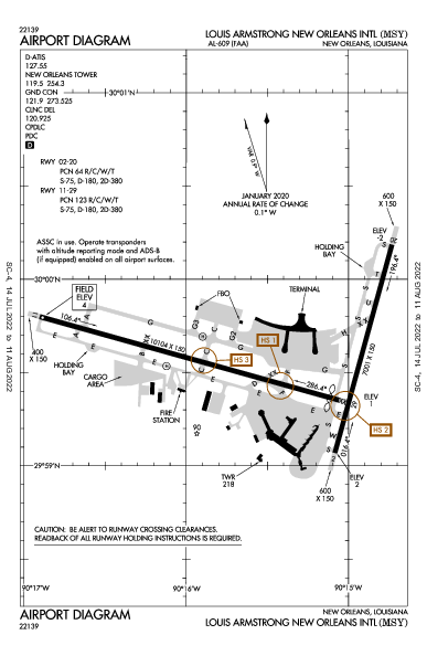 New Orleans Intl Airport (New Orleans, LA): KMSY Airport Diagram