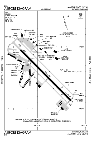 Martin State Airport (Baltimora): KMTN Airport Diagram