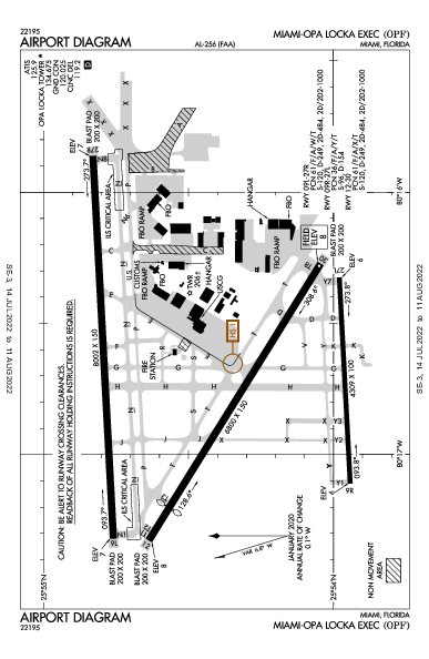 Opa-locka Executive Airport (Miami, FL): KOPF Airport Diagram