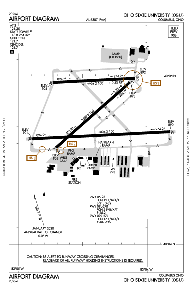 Ohio State University Airport (Columbus, OH): KOSU Airport Diagram