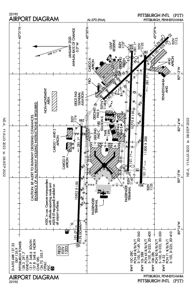 Pittsburgh Intl Airport (פיטסבורג): KPIT Airport Diagram