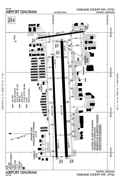 Oakland County Intl Airport (Pontiac, MI): KPTK Airport Diagram