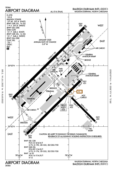 萊利都林國際機場 Airport (Raleigh/Durham, NC): KRDU Airport Diagram