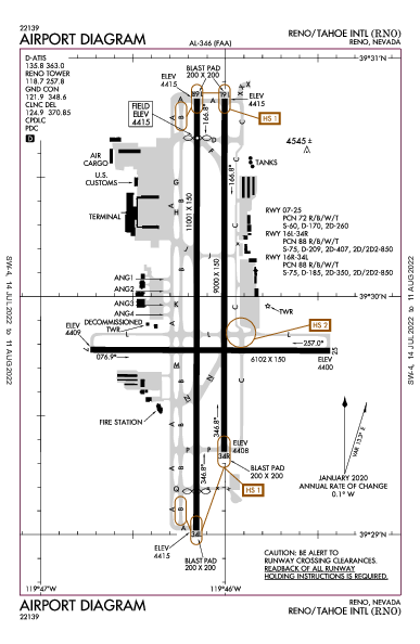 Reno/Tahoe Intl Airport (雷諾, 內華達州): KRNO Airport Diagram
