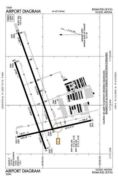 Ryan Field Airport (Tucson, AZ): KRYN Airport Diagram