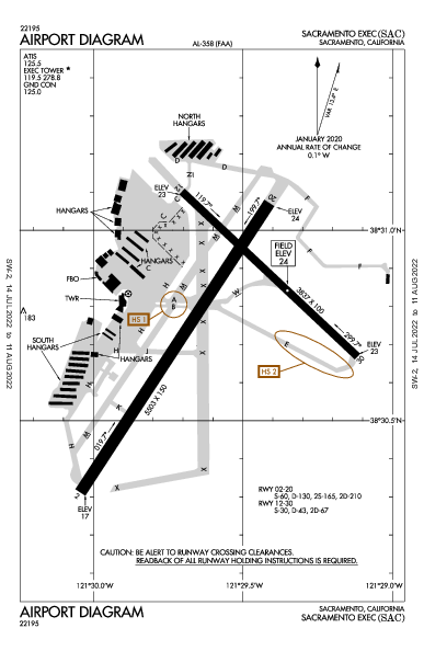 Sacramento Executive Airport (Sacramento, CA): KSAC Airport Diagram