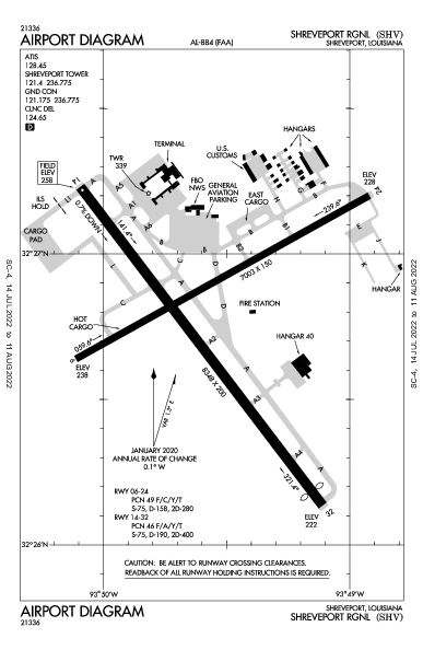 Shreveport Rgnl Airport (Shreveport, LA): KSHV Airport Diagram
