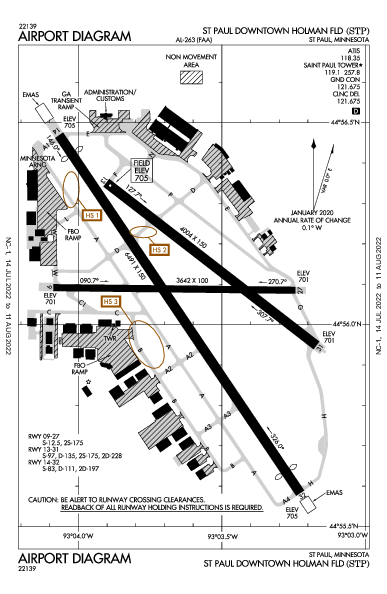 St Paul Holman Fld Airport (Saint Paul): KSTP Airport Diagram