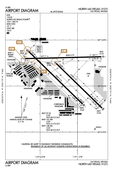 North Las Vegas Airport (Las Vegas, NV): KVGT Airport Diagram