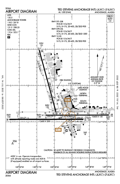 Int'l di Anchorage Airport (Anchorage, AK): PANC Airport Diagram