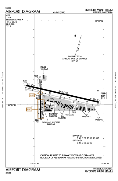 Riverside Muni Riverside, CA (KRAL): AIRPORT DIAGRAM (APD)