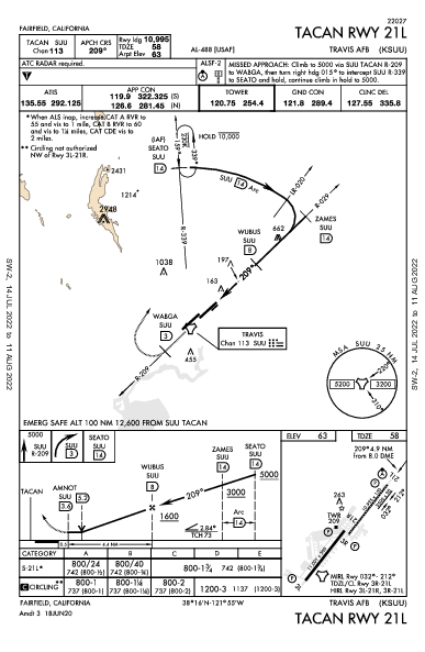 Travis Afb Fairfield, CA (KSUU): TACAN RWY 21L (IAP)