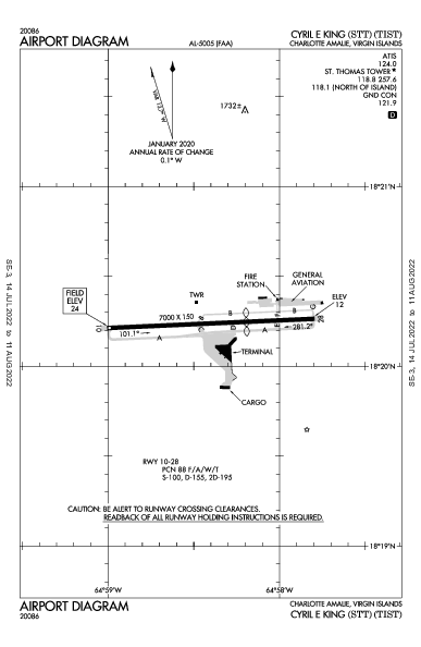 Cyril E. King Airport (שרלוט אמאלי VI): TIST Airport Diagram